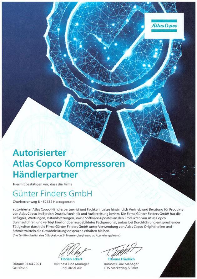 Günter Finders GmbH ist authorisierter Vertriebs- und Servicepartner der Atlas Copco Kompressoren und Drucklufttechnik GmbH